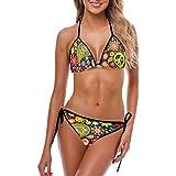 InterestPrint Women's Funny Hippie Peace Sign Paisley Flowers Beach Swimwear Adjustable Halter Strap Bra Bikini Set L
