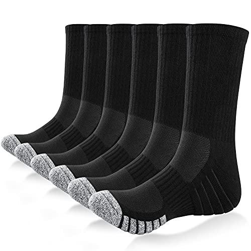 Tmani Mens Sports Socks Cushioned Heavy Duty Work Boot Crew Socks Moisture Wicking Cotton Running Socks Ladies Breathable Odor-free Trainer Socks Walking Hiking for Men Women (6 Pairs)