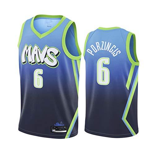 Männer Basketball-Trikots, Kristáps Pórzińgis # 6 Dállās MǎVericks atmungsaktive, schnell trocknende Weste Ärmelloses T-Shirt Uniformen-Tops können wiederholt gerein Blue B-XXL