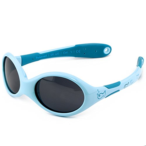 ActiveSol gafas de sol para BEBÉ | NIÑO | 100% protección UV 400 | polarizadas | irrompibles, de goma flexible | 0-24 meses | 18 gramos [Talla S - Pez]