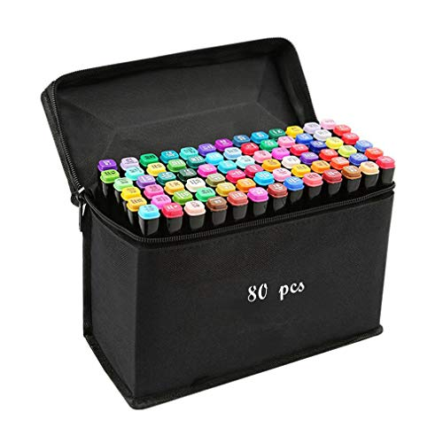 80 Colours Graphic Marker Pen,Artist Necessary Permanent Art Markers Twin Marker Pen Animation...