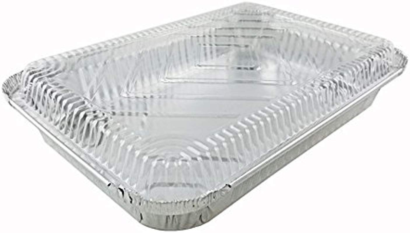 Handi Foil 4 Lb Oblong Aluminum Entr E Dinner Food Storage Pan W Dome Lid Pack Of 125