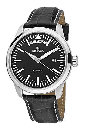 KRONOS - Pilot Automatic Day Date Black K006.55 - Reloj de Caballero automático, Correa...