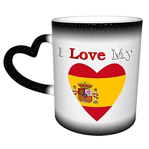 Taza de café con la bandera de I Love My Spain, regalos divertidos para mujeres y hombres (11 oz (330ML)