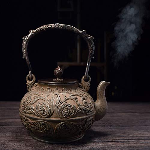 Japón Teteras De Hierro Fundido 1400ML, Casa Retro Gama Alta Arrabio Tetera Hecho a Mano Metal Tetera, Exquisita Caja de Regalo con Tenedor Estera del té, para Cocina de Gas Estufa
