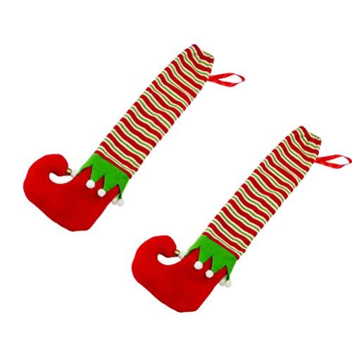 Hemoton Stuhlbeinkappen Weihnachten Stil Stuhlbeinkappen Elf Design 2 Stücke Möbelfüße Socken Elastische Rutschfeste Stuhl Tisch Schreibtisch Bodenschutz Weihnachtsdekoration