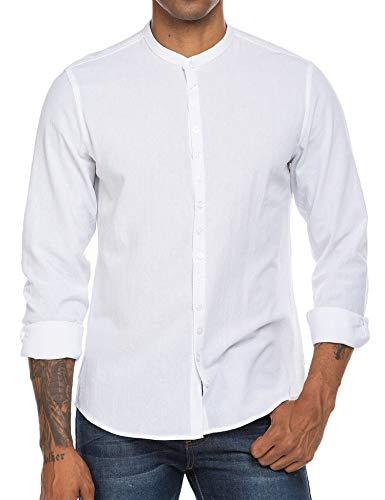 COOFANDY Herren Hemd Langarmshirt Leinenhemd Casual Knopfleiste Baumwolle Modern Fit Freizeit Weiß M