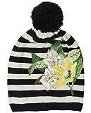 GULLIVER Mädchen Mütze Herbst Winter Mütze Strick Schwarz Weiß Gestreift mit Blumen mit Bommel 3 5 Jahre 52 cm 54 cm