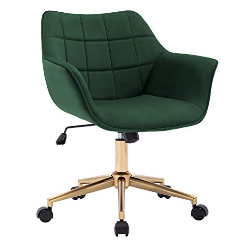Duhome Modern Home Office Chair Velvet Desk Chair with Gold Metal Base with Mid Back Cute Ergonomic Computer Desk Chair Task Chair with Arms, Wheels Adjustable Swivel 1PCS (Dark Green)