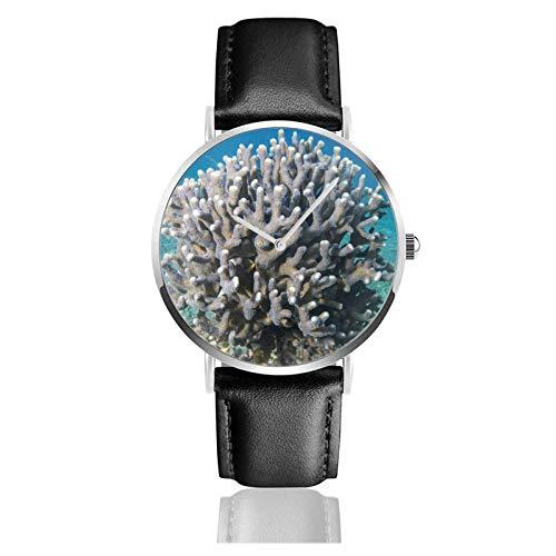 Relojes Anolog Negocio Cuarzo Cuero de PU Amable Relojes de Pulsera Wrist Watches Crecimiento del exoesqueleto de Coral