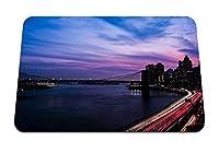 22cmx18cm マウスパッド (ニューヨークアメリカ合衆国夜夜市道路建物) パターンカスタムの マウスパッド
