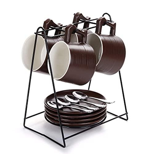 N/Z Muebles para el hogar Juego de Tazas de café de cerámica Creativo y Simple Oficina en casa Marca Taza de té con Estante para Cuchara E