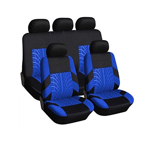 Juego de 9 fundas protectoras para asientos de coche, color azul y negro