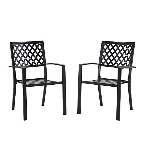 VICLLAX Outdoor Metal Bistro Patio Stackable Dining Chairs Set for 2, Black