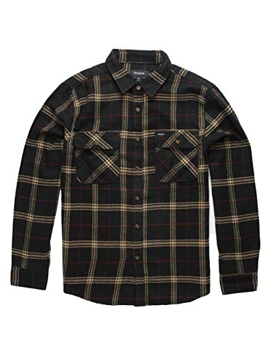 Brixton Men's Bowery Standard FIT Long Sleeve Flannel Shirt, Black/Ivory, S