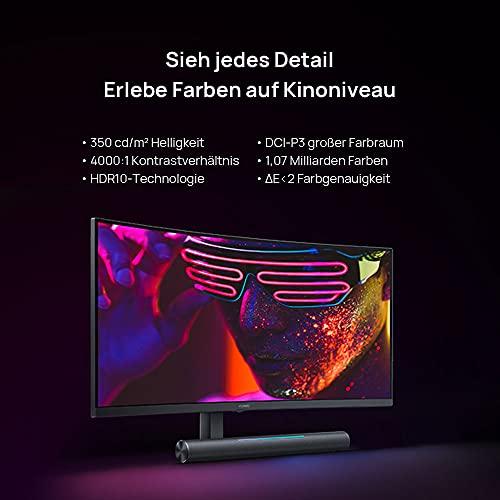 HUAWEI MateView GT 34'' (86,40cm) Curved Gaming Monitor mit SoundBar, 165Hz, 4ms (WQHD 3440 x 1440, 21:9,1500R, Dual Mics, USB Type-C, HDMI, Display Port), Eye Comfort, Schwarz, 30 Monate Garantie