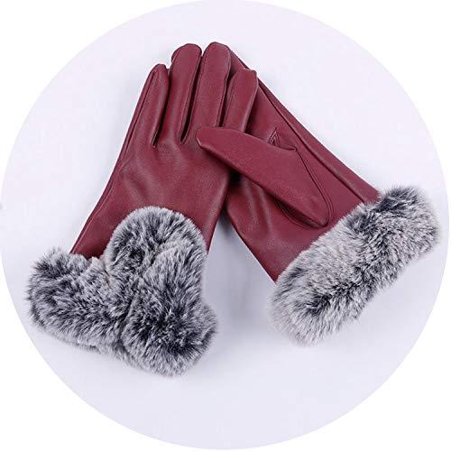 Damen PU-Leder-Handschuhe, weiche künstliche Kaninchen-Fäustlinge für den Winter, weinrot, Einheitsgröße