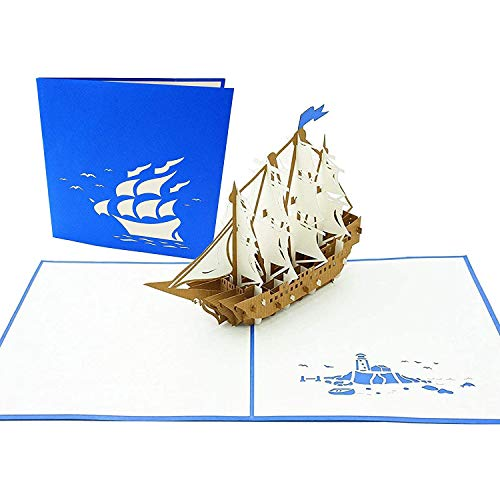 PopLife Cards Tarjeta emergente del día de padres del barco alto del velero para todas las ocasiones el día del padre, feliz cumpleaños, graduación, retiro, navegantes del regalo del aniversario