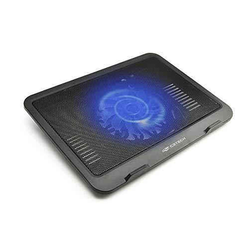 """Base Para Notebook C3Tech NBC-11BK 14"""" Preto - Refrigerada Com Cooler de 140mm com Led Azul Notebooks até 14"""" Ajustável com USB adicional"""