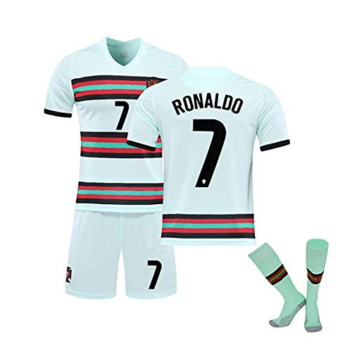 2021 Portugiesisches Home Jersey und Ronaldo Jersey Nr. 7 Rónaldó Erwachsene Kinder Fußball Jersey + Socken, schnell trocknender und atmungsaktiver Stoff White 7-28