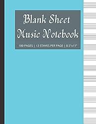 Blank Sheet Music Notebook: Music Notebook / Staff Manuscript Paper / Music Writing Notebook For Kids & Adults / 12 Staff Music Writing Sheet: ...   100 Pages   High-quality Matte Aqua Cover