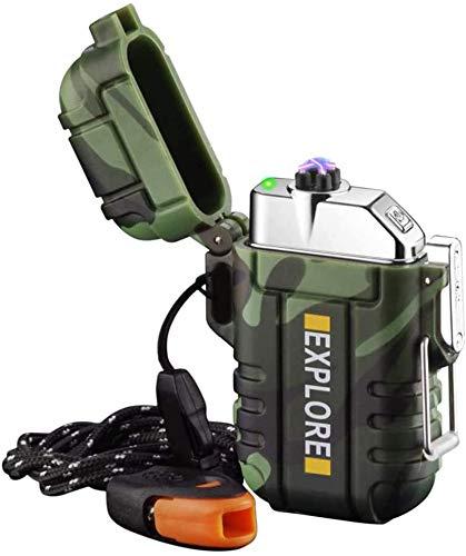 Mechero eléctrico USB recargable, resistente al viento de plasma, sin llama, con silbato de emergencia para senderismo, al aire libre, para camping, supervivencia táctica, equipo EDC (camuflaje)