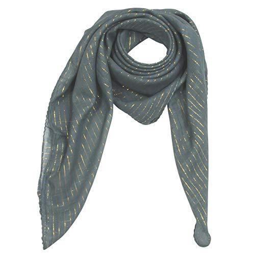 Superfreak Baumwolltuch - grau - dunkel Lurex gold - quadratisches Tuch