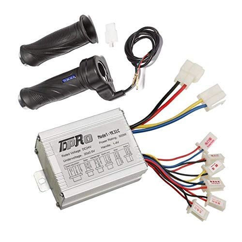 TDPRO 24V 500W Brush Speed Motor Controller and Throttle Grip for Electric Scooter Bicycle e-Bike Tricycle