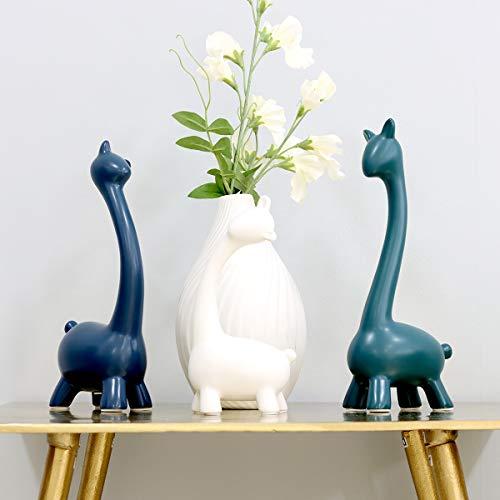Saidan SD Figuras Familia Jirafas Blanco Verde y Azul Cerámica Decoración para la Casa y el Hogar Ideal para Regalar