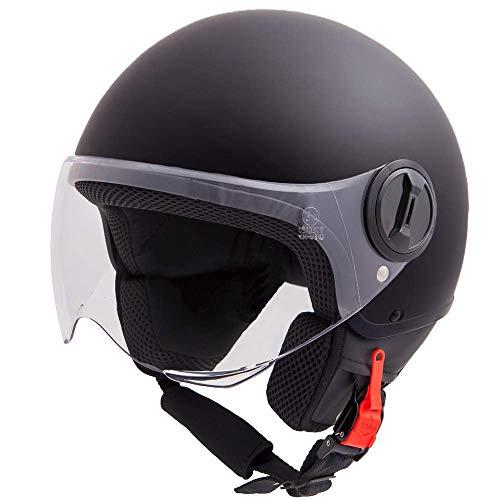 Vinz Sole Roller Helm Jethelm Fashionhelm   in Gr. XS-XL   Jet Helm mit Visier   ECE Zertifiziert   Motorradhelm Basic   Schwarz Matt