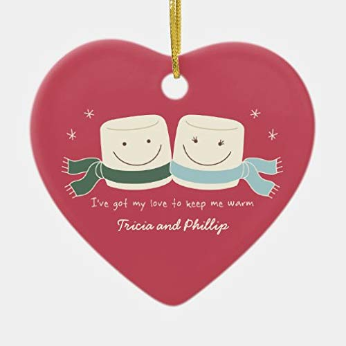 onepicebest Christmas Decorations, Christmas Ornaments 2020, Marshmallow Love Christmas Tree Heart Shape Ornament for Christmas Tree, Decorative Hanging Ornaments, Gift Wrap Decor