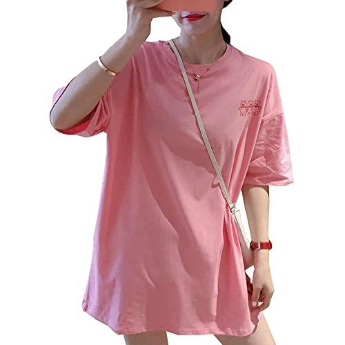 Camiseta de algodón de Manga Corta para Mujer, Estampado Suelto, de Longitud Media, Tops Blancos de Media Manga, Verano, Nueva Marea ins