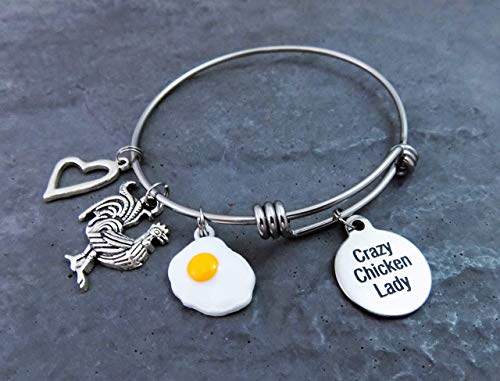Crazy Chicken Lady Charm Bracelet Stainless Steel Expandable Bangle