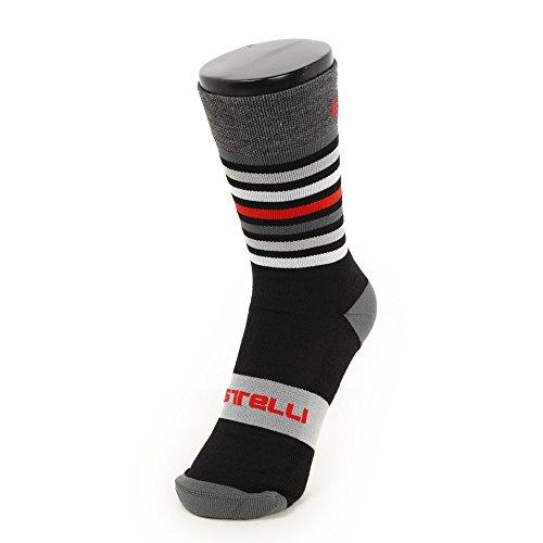 Calcetines Castelli–gregge 15Sock–Bicicleta Invierno Calcetines–Calcetines térmicos, Black - Red