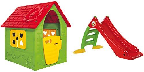 Dohany Spielhaus Kinderspielhaus Gartenhausmit Rutsche120 cm Indoor Outdoor +2J … (grün rot)