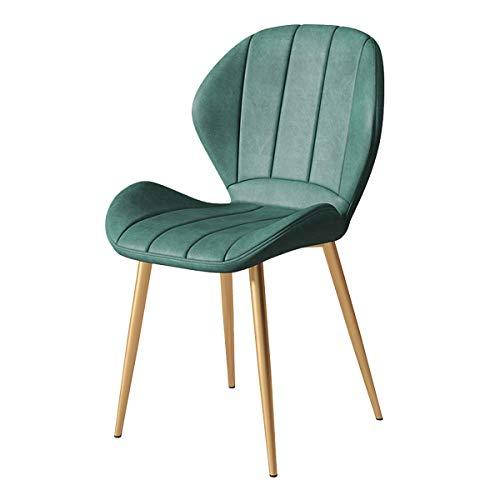 Bijzetstoelen PU-leer Eetkamerstoelen, Gestoffeerde Zitting Keuken Bijzetstoelen Met Metalen Poten Dressingstoel Slaapkamer, Woonkamer, Woonkamerstoel (Color : Dark green)
