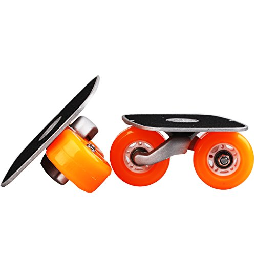 JINCAO Orange Portable Roller Road Drift Skates Plate Anti-Slip Board Aluminum Truck with PU Wheels with ABEC-7 608 Bearings