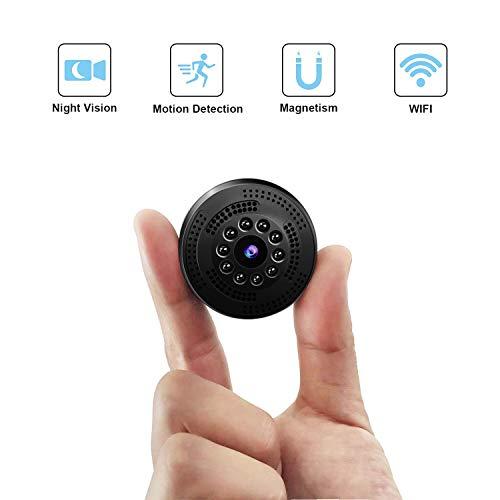 QZT Mini Cámara de Vigilancia, Bolsillo Cámara IP para iPhone Android, Micrófono Pequeño Portátil Cámara para Interior/Exterior En Vivo, Video, Grabación. ...