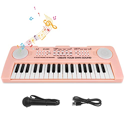 Electronic Piano for Kids 37 Keys Music Piano Keyboard with Microphone Kids Piano Keyboard Musical Instruments Toy Gift for Boys Girls Children