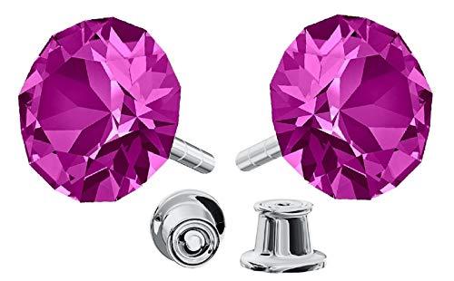 Pendientes Beforya Paris Xirius de plata de ley 925, muchos colores, pendientes con cristales de Swarovski®, bonitos pendientes para mujer, fantásticos pendientes con caja de regalo, PIN/75 (fucsia)