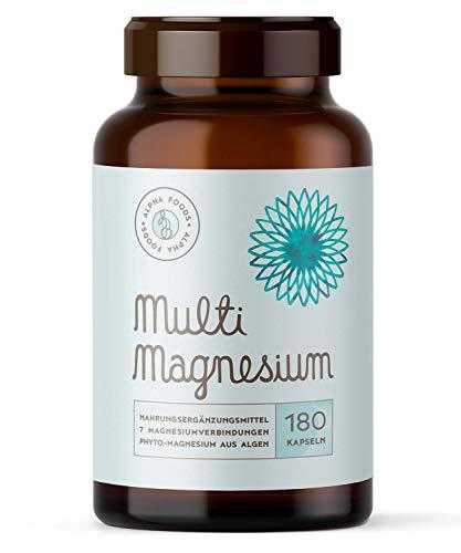 Multi-Magnesium 180 Kapseln, Hochdosiert - 7 bioaktive Magnesium-Quellen, Mit Phyto-Magnesium - 2140mg Magnesium und 300mg elementares Magnesium pro Tagesdosierung