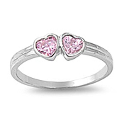 Oxford Diamond Co Pink Cz Hearts Baby Ring Size 1