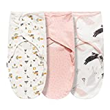 Swaddle Blanket for Baby Girl Boy Easy Change Infant Wrap 3 Pack Adjustable Sleep Sack for Newborn Babies 0-3 Month (Star and Rabbit)