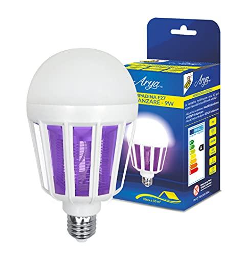T-Tex Srl - Mosquito Lamp - Bombilla E27 Antimosquitos - 9W - Lámpara 6500K - 600 lúmenes - 2 en 1 - Luz + LED UV Antimosquitos - Mosquitera eléctrica