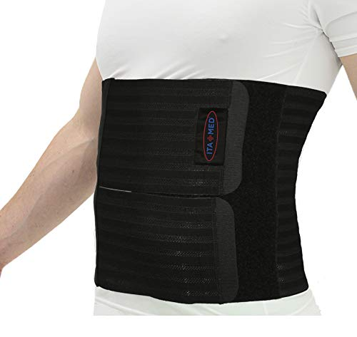 "ITA-MED Men's Breathable Elastic Postsurgical Recovery Abdominal and Back Support Wrap/Binder AB-412(M): Medium(34'-38"") Black"