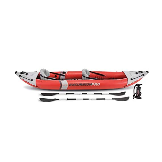 Intex excursion pro kayak, professional series inflatable fishing kayak 7 super tough laminate pvc with polyester core: light weight and highly resistant to damage from abrasion, impact and sunlight high pressure inflation provides extra rigidity and stability, with high pressure spring loaded valves for easy inflation and fast deflation includes 2 removable skews for deep and shallow water, 2 floor mounted footrests, 2 integrated recessed fishing rod holders, 2 adjustable bucket seats