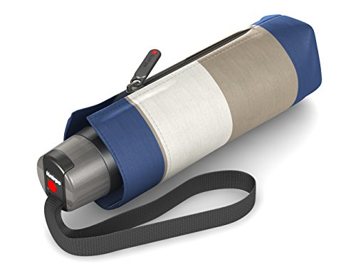 Knirps T.010 Taschenschirm Manual Stripe Blue - inkl. Futteral im Schirmdesign - kleines Packmaß - Easy Handling - 100% Polyester - Windkanal getestet - extrem robust, kompakt&komfortabel