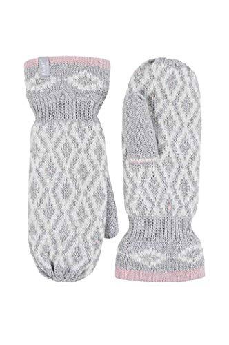 HEAT HOLDERS - Damen winter bunt fleece gestrickt strick fäustlinge handschuhe mit innenfutter (One size, Light Grey)