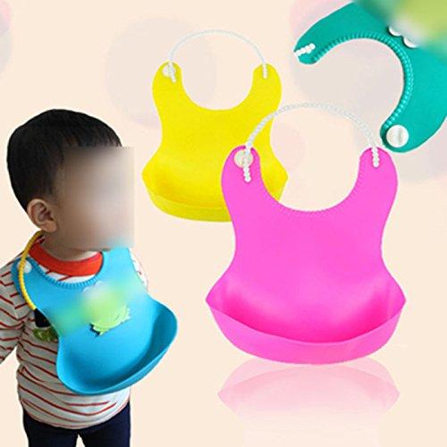Huntgold 1X Nouveau Imperméable à l'eau bavoir de bébé souple avec poche(jaune)