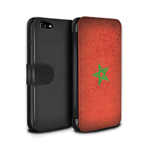 Telefoonhoesje Portemonnee voor Apple iPhone SE 2020 Afrikaanse Vlag Marokko/Marokkaanse Ontwerp Flip Faux PU Lederen Cover Magnetische Sluiting Card Slots